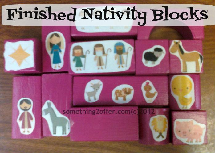 finished nativity blocks