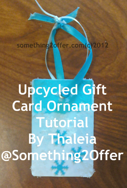 upcycled gift card ornament