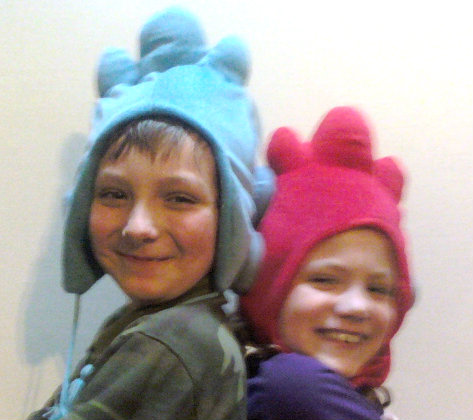two kids in funny hats