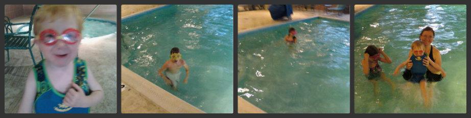 swimming in November at comfort inn hotel pool