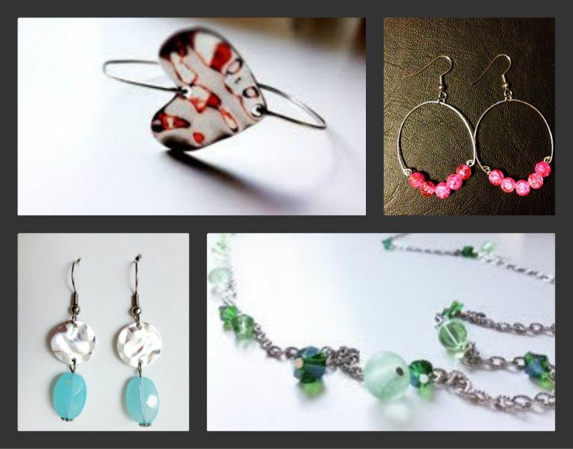 Lit Jewelry by Jess Collage blue drop earrings green necklace heart bracelet pink crackle