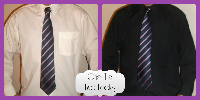 Pink dress shirt with black tie