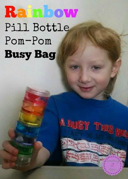 rainbow pill bottle pom-pom busy bag