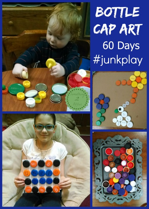 Bottle Cap Art 60 days of #junkplay