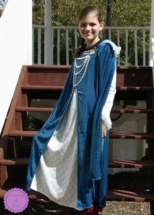 Renaissance Queen Costume on steps