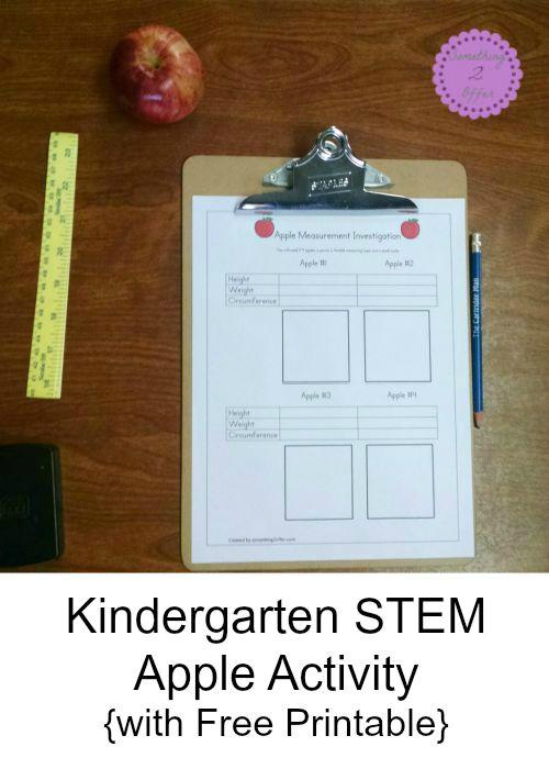 Kindergarten STEM Apple Activity {with Free Printable}
