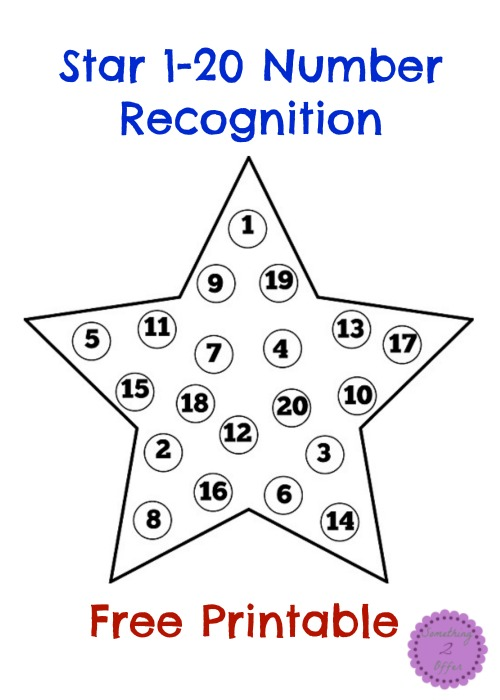 Star 1-20 Number Recognition Free Printable
