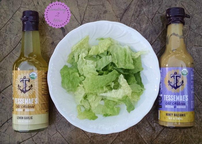 bowl of lettuce Tessemae's dressing