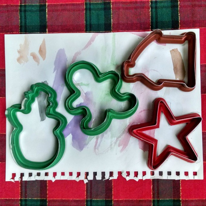 watercolor cookie cutter kid made card