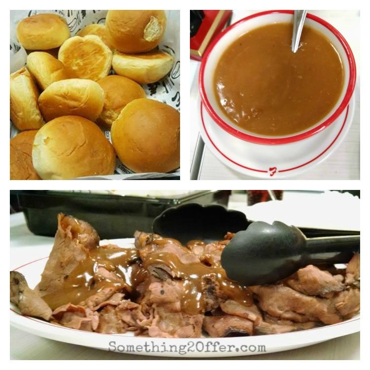 Frisch's rolls, gravy, roast beef