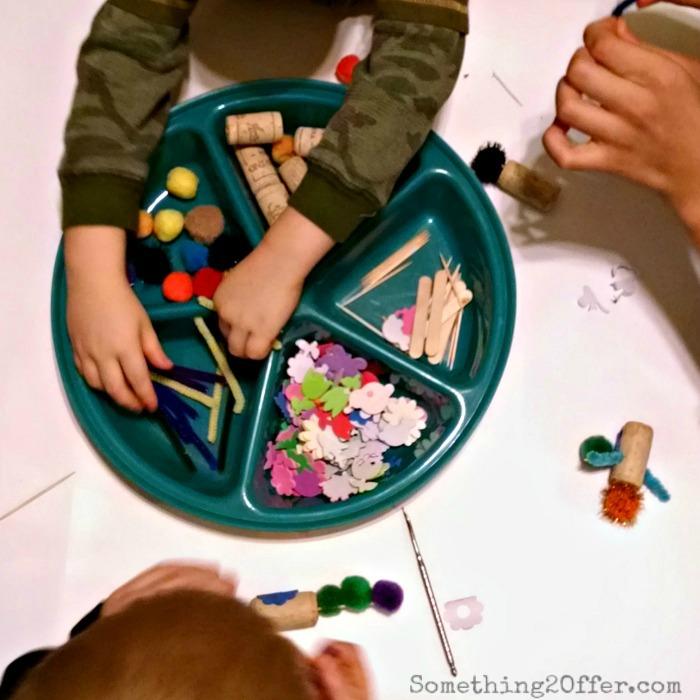 Cork puppet tray of supplies