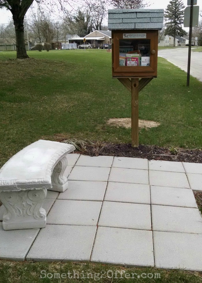 Little Free Library with bench