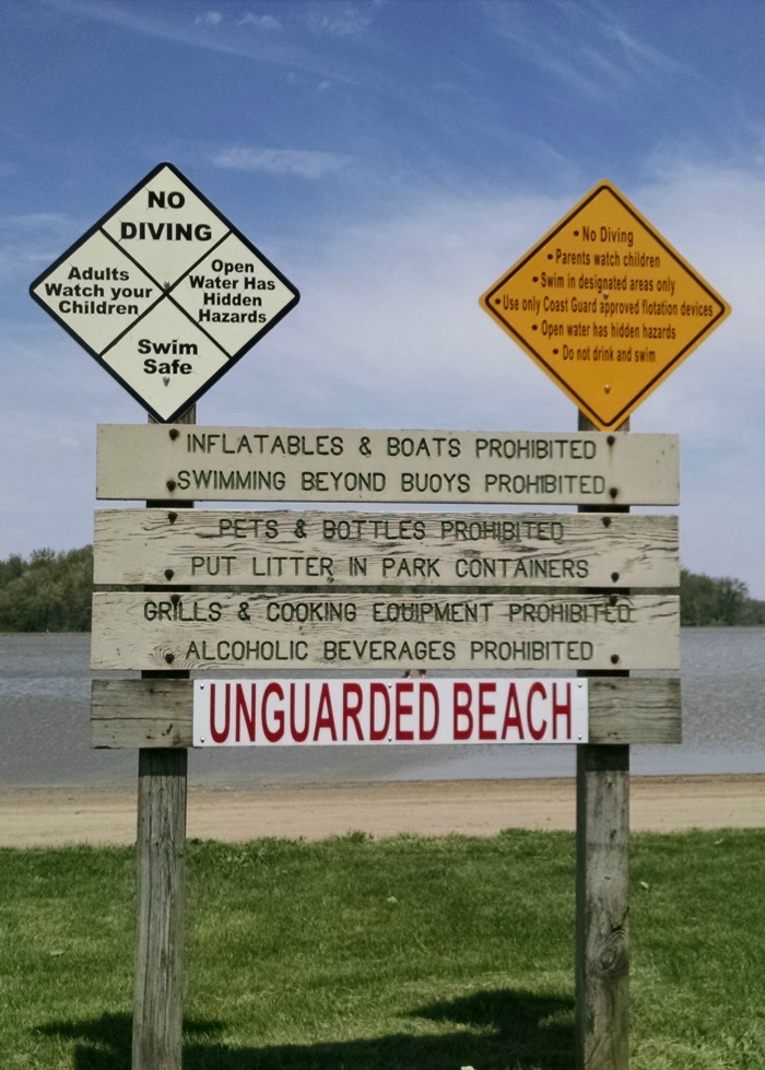 Lake Loraime State Park Beach Sign