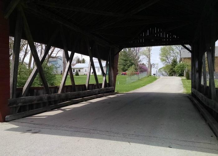Looking through Fletcher Covered Bridge
