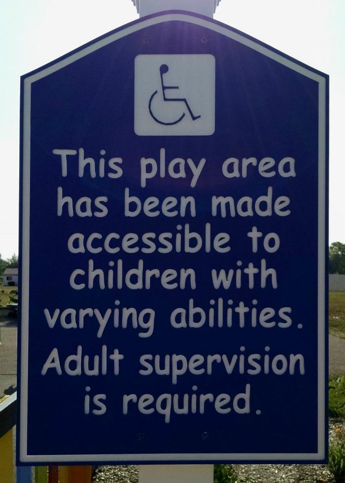 Special Needs Playground sign