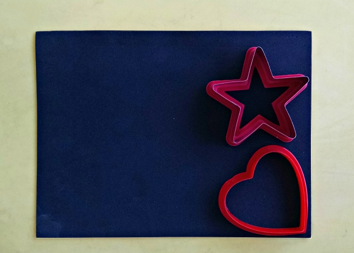 Black Foam Sheet with Star and Heart Cookie Cutter