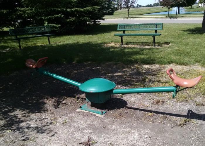 benches and bouncer at Robert M. Davis Park