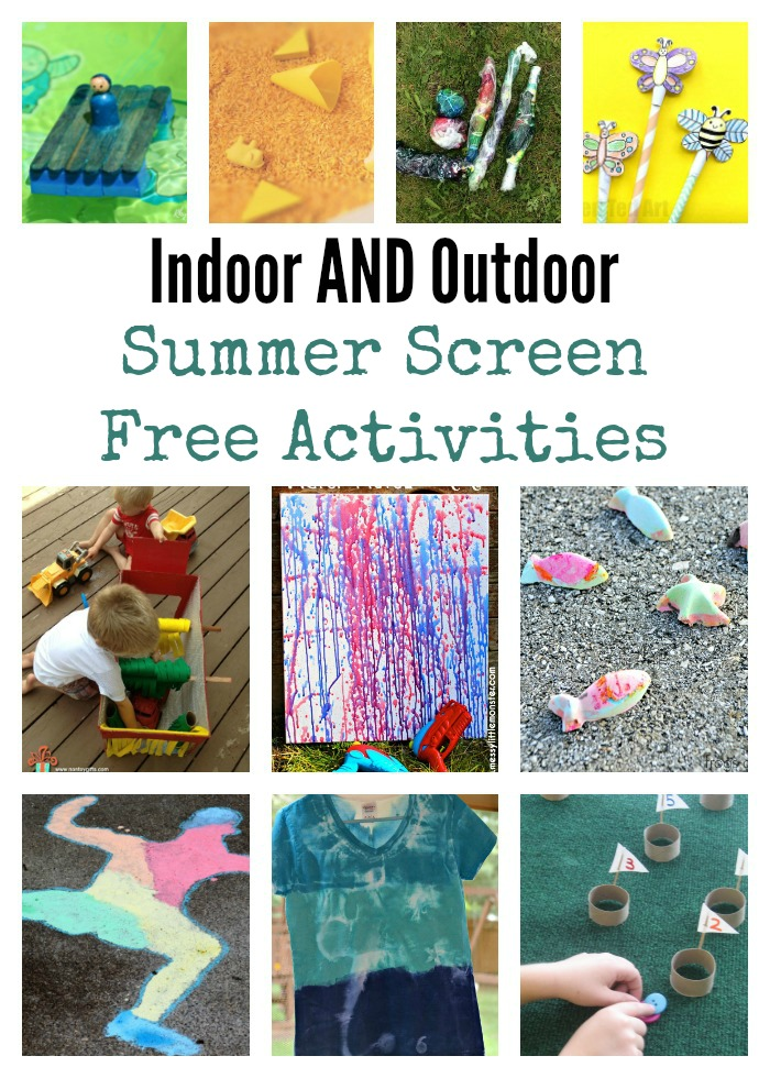indoor and outdoor Summer Screen Free Activities