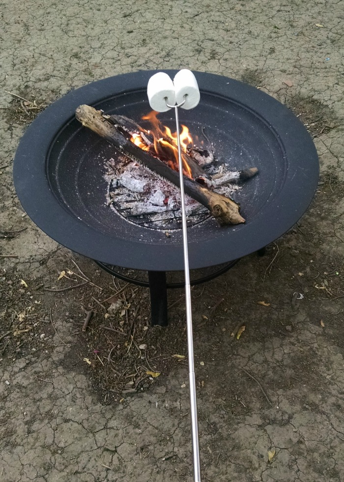 roasting marshmallows over fire pit