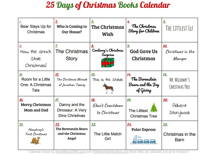 25 Days Of Christmas List 2017 >> 25 Days of Christmas Books with Printable Calendar {Subscriber Freebie}