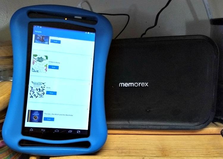 tablet and memorex speaker