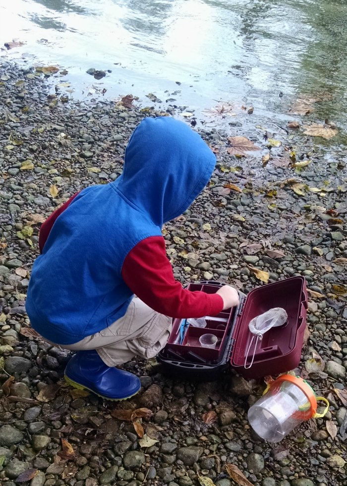 Lil' Red at Rivers Edge with nature tools